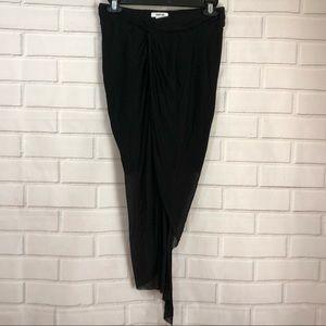 Helmut Lang Black Knit Stretchy Asymmetrical Skirt